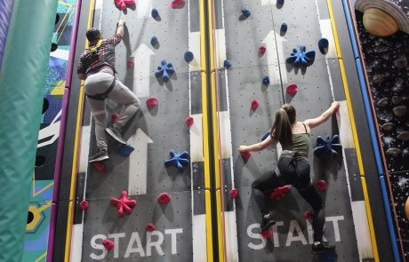 two people on a climbing wall at The Adrenaline centre in Rossendale Adrenaline Valley