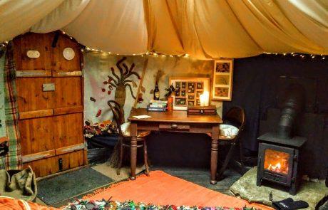 Inside a yurt on Cronkshaw Fold Farm for accommodation in Rossendale page on Visit Rossendale website