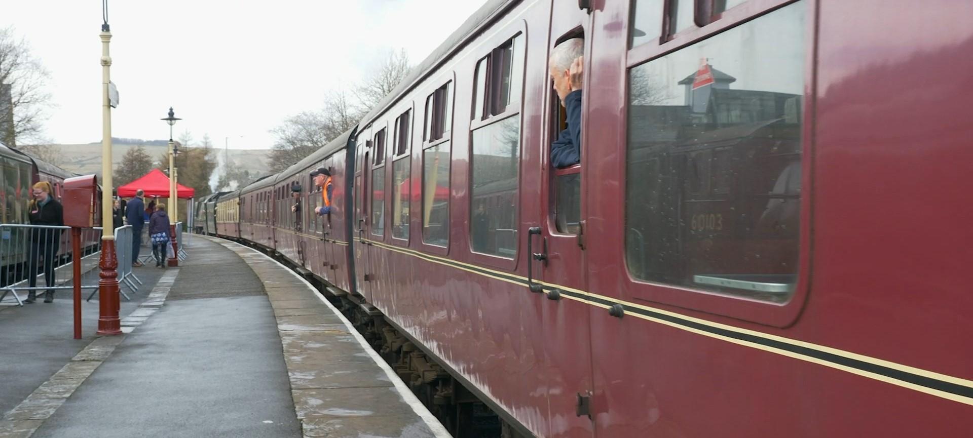 Up close of train on East Lancashire Railway